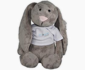 Grey Floppy Heartbeat Bunny
